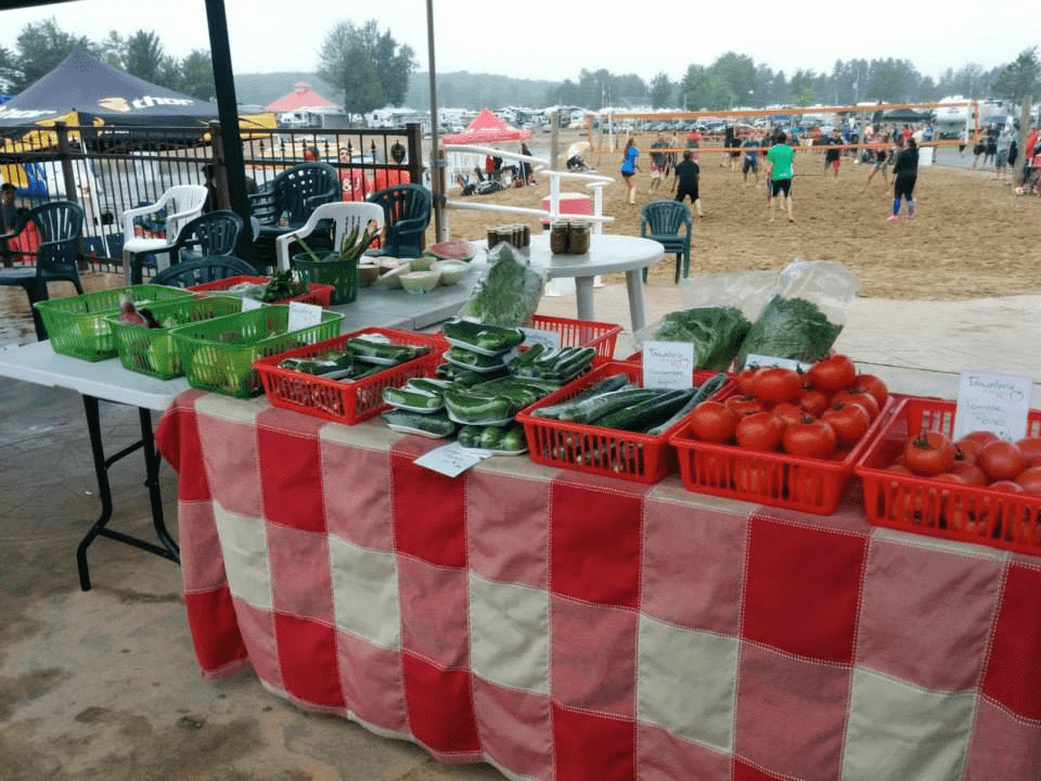 Kiosque de fruits et légumes ainsi que pains, brioches